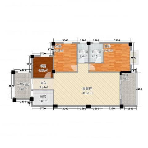 远洋・滨海国际3室1厅2卫1厨1124.00㎡户型图