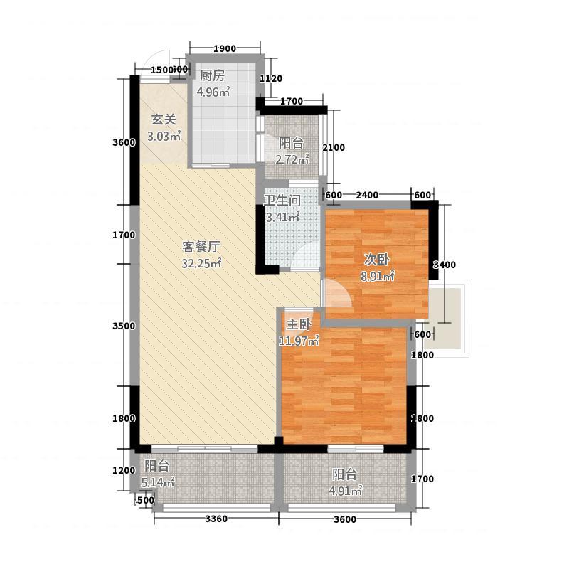 西汇名都4584.85㎡C4、C5单卫户型2室2厅1卫