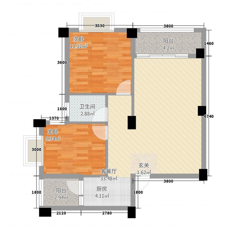 远洋・滨海国际77.12㎡御林组团I#05户型2室2厅1卫1厨