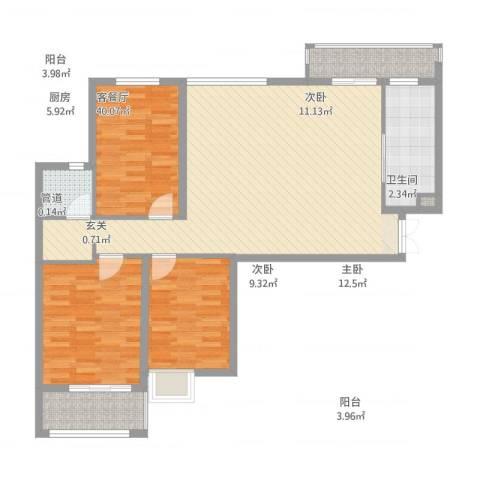 淮安万达广场3室1厅1卫1厨126.00㎡户型图