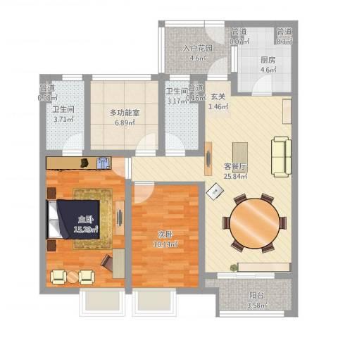 万科城2室1厅2卫1厨115.00㎡户型图