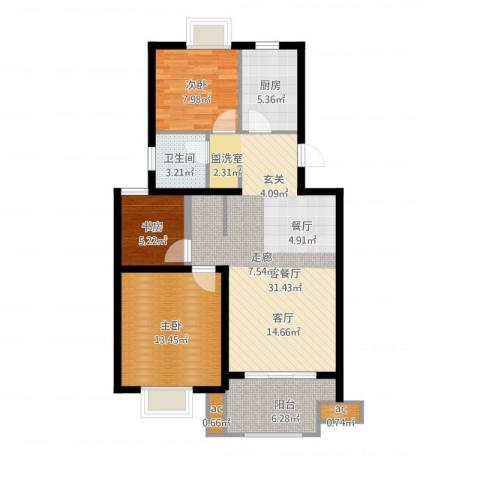 仙林诚品城3室1厅1卫1厨106.00㎡户型图