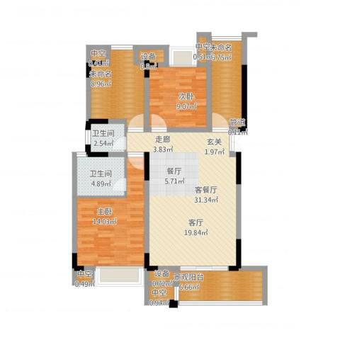 天盈首原2室1厅9卫1厨129.00㎡户型图