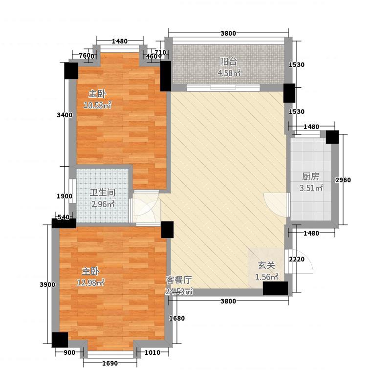远洋・滨海国际75.67㎡FG#05户型2室2厅1卫1厨