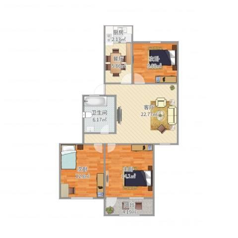 王官庄小区3室2厅1卫1厨105.00㎡户型图