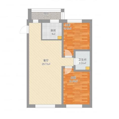 巴黎左岸2室1厅1卫1厨88.00㎡户型图
