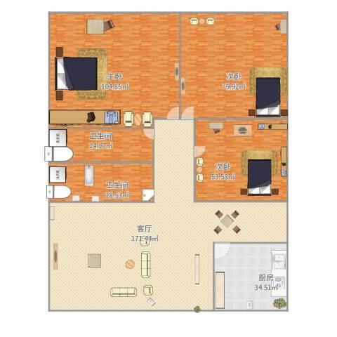 金都华庭3室1厅2卫1厨640.00㎡户型图