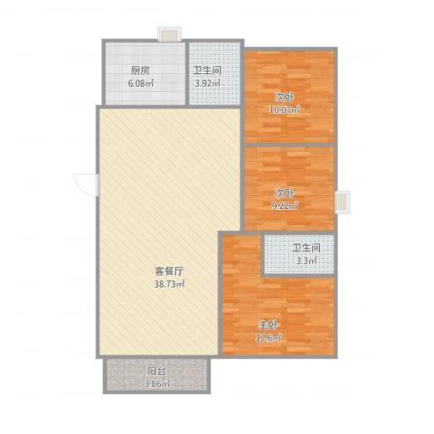 御景湾花园二期3室1厅2卫1厨118.00㎡户型图