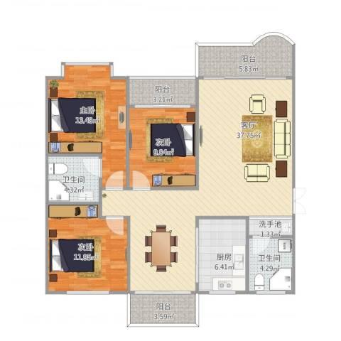 金同花园3室1厅2卫1厨138.00㎡户型图