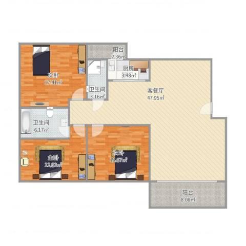 富湾花园3室1厅2卫1厨155.00㎡户型图