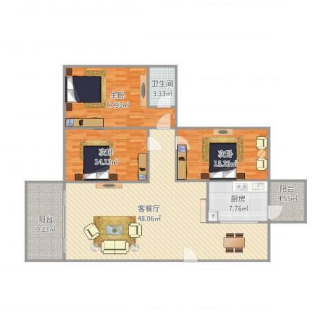 富湾花园3室1厅1卫1厨160.00㎡户型图