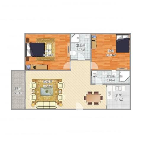 富湾花园2室1厅2卫1厨125.00㎡户型图