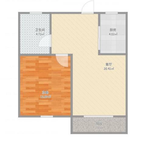 紫荆南苑1室1厅1卫1厨60.00㎡户型图
