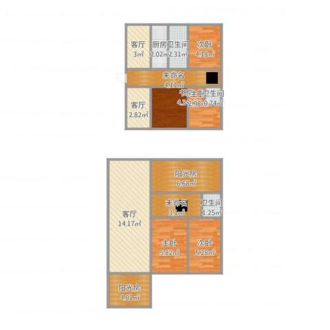 时代花园5室3厅3卫1厨95.00㎡户型图