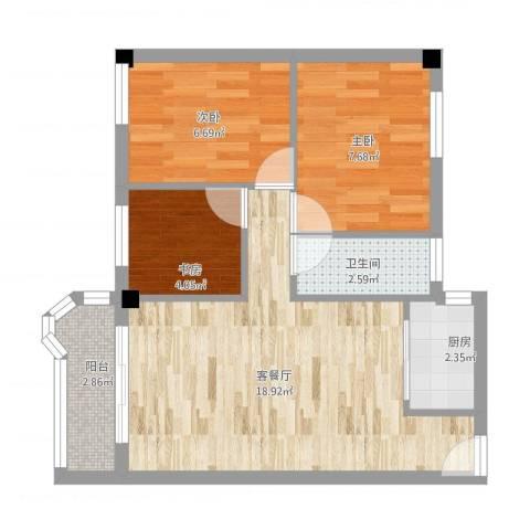 天平架三汽宿舍3室1厅1卫1厨65.00㎡户型图