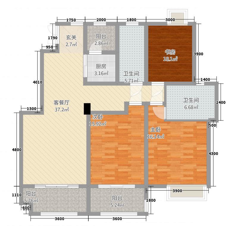卧龙大观13136.72㎡C13#东户户型3室2厅2卫1厨