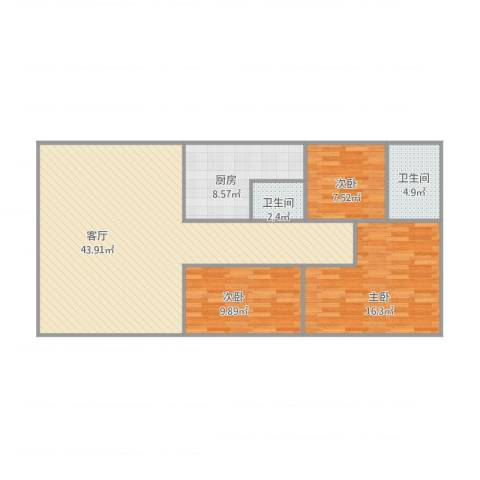 宝源楼3室1厅2卫1厨125.00㎡户型图