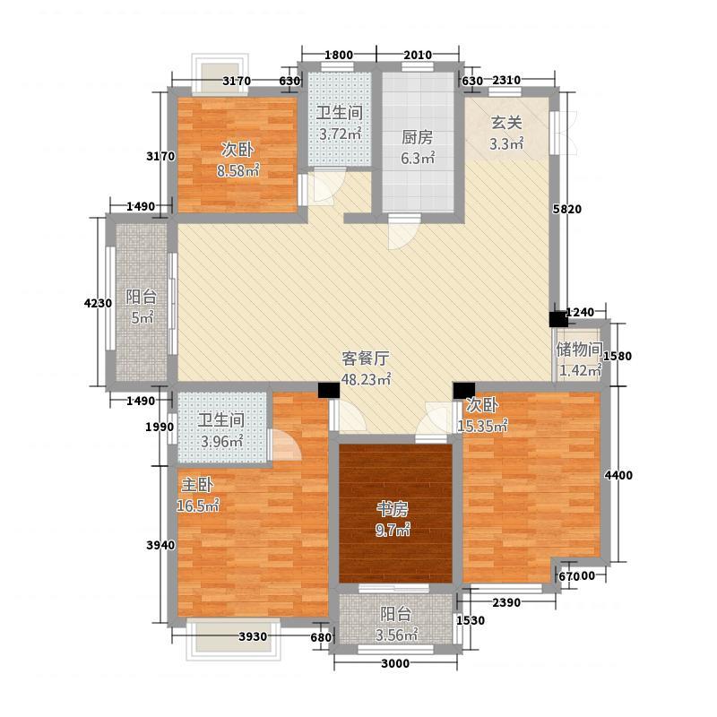 卧龙大观3214.33㎡A户型3室2厅2卫1厨