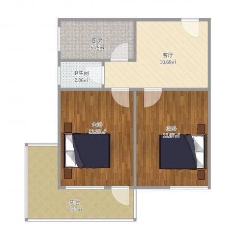金泉小区2室1厅1卫1厨72.00㎡户型图
