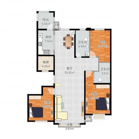 银河丽湾二期丽湾上品3室1厅3卫1厨165.00㎡户型图
