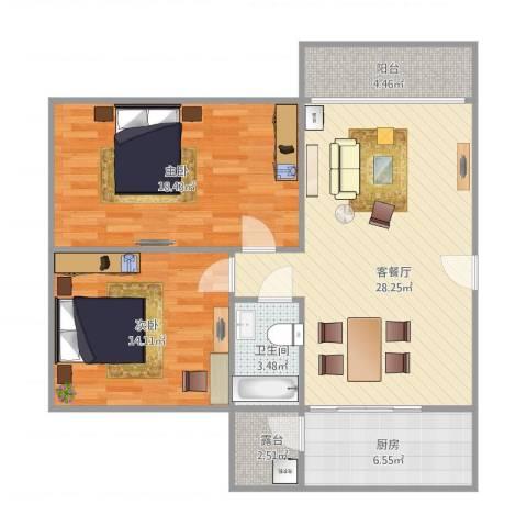 顺景蔷薇山庄70㎡户型2室1厅1卫1厨104.00㎡户型图