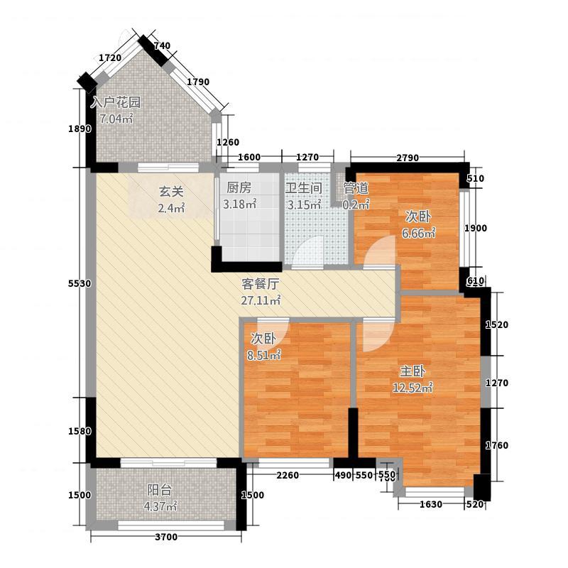 金色维也纳3.14㎡E户型3室2厅1卫1厨
