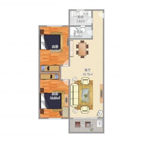 田心花园2室1厅1卫1厨78.00㎡户型图