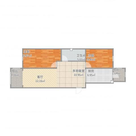 生态园三期106平2室1厅1卫1厨90.00㎡户型图