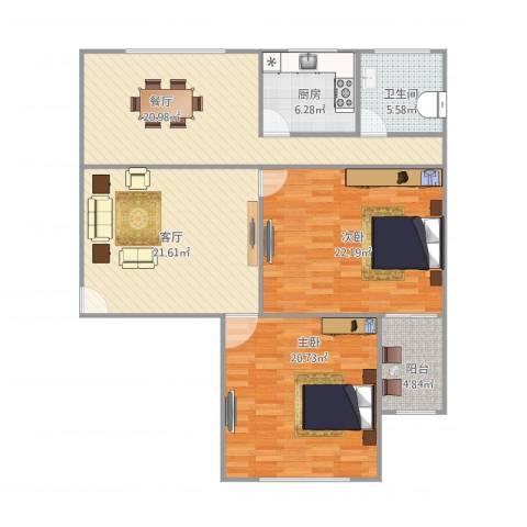 美晶家园2室2厅1卫1厨136.00㎡户型图