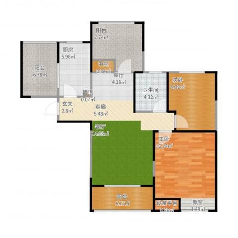 浦发御园2室1厅1卫1厨114.00㎡户型图