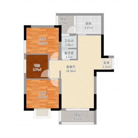 怡景国际3室2厅1卫1厨102.00㎡户型图