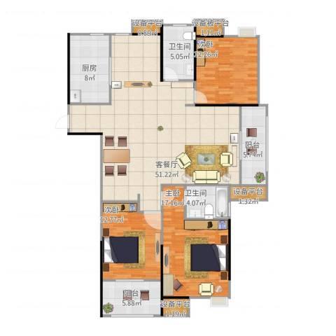 天润国际花园3室1厅2卫1厨170.00㎡户型图
