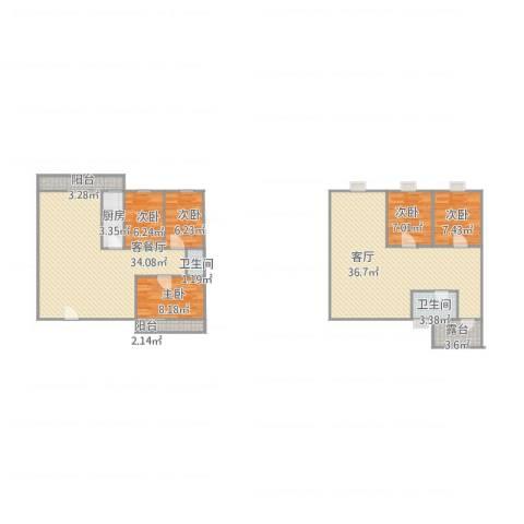 龙岱花园5室2厅2卫1厨166.00㎡户型图