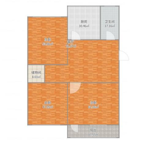 煤炭局宿舍3室1厅1卫1厨400.00㎡户型图
