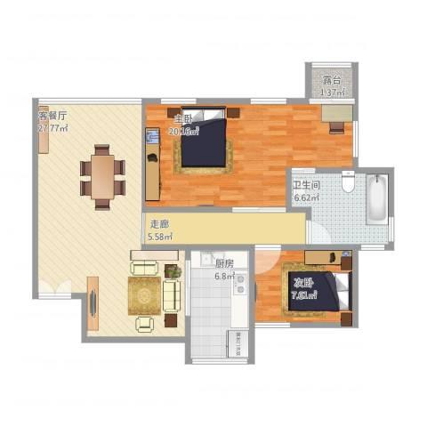 华南碧桂园翠宏台2室1厅1卫1厨106.00㎡户型图