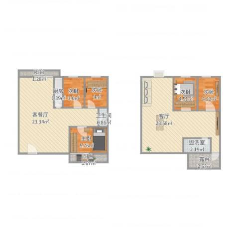 龙岱花园5室3厅1卫1厨109.00㎡户型图