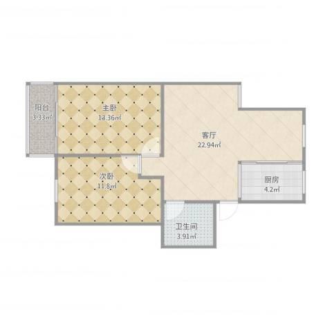 奉浦二村2室1厅1卫1厨80.00㎡户型图