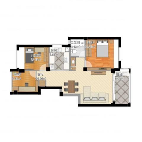 四季翠园3室1厅1卫1厨102.00㎡户型图