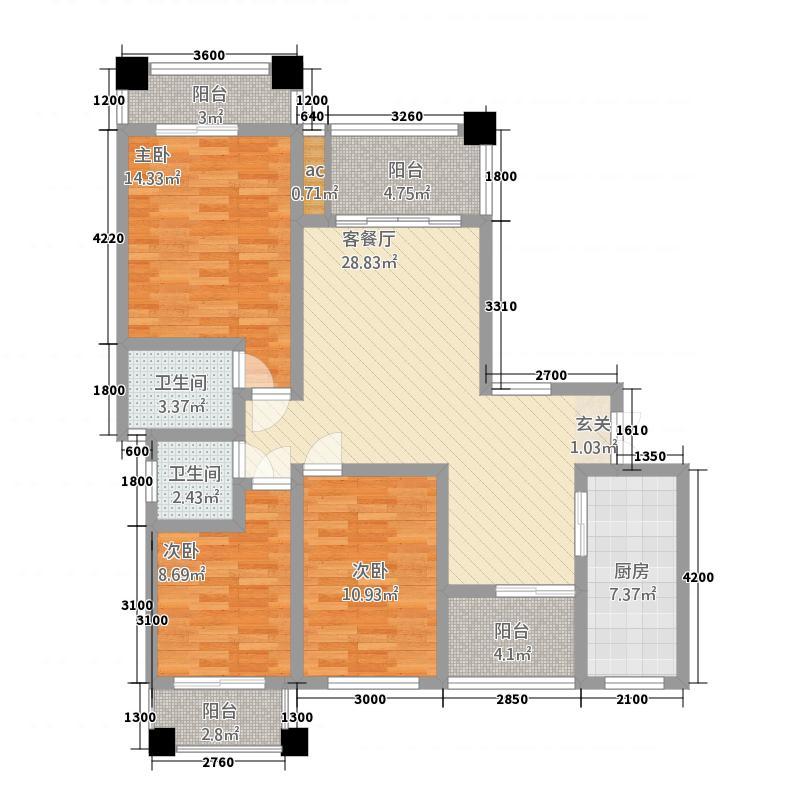 江南美邸713415.88㎡7栋13栋4层户型3室2厅2卫1厨