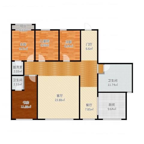 光明小区B3东侧4室1厅2卫1厨162.00㎡户型图