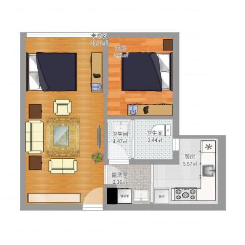 两江慧谷1室1厅2卫1厨58.00㎡户型图