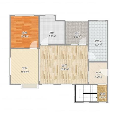 华泽(北京)天都嘉府-花园洋房-中跃A1户型图(地上三层)1室2厅1卫1厨97.00㎡户型图