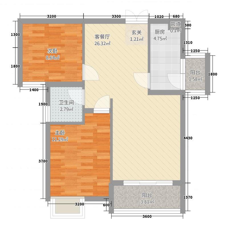 中央美邸1276.86㎡D户型1室2厅1卫1厨