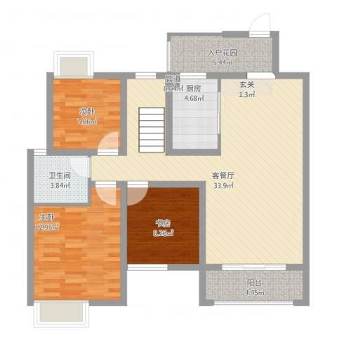 皇庭国际1号3室1厅1卫1厨117.00㎡户型图