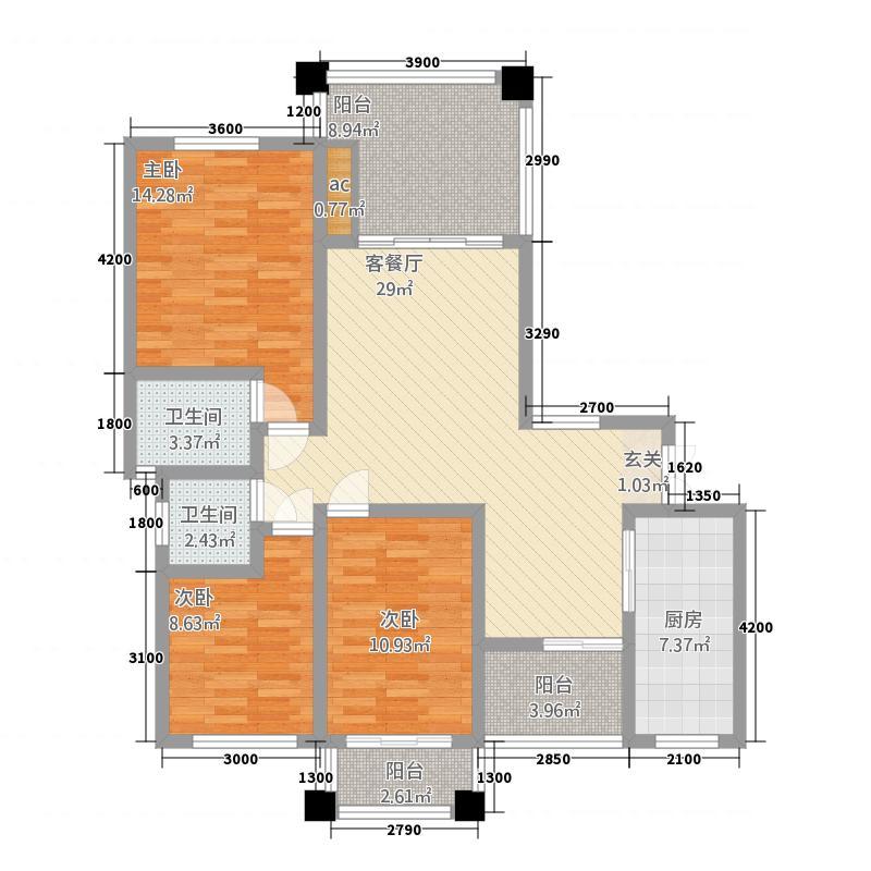江南美邸713118.38㎡7栋13栋1层户型3室2厅2卫1厨