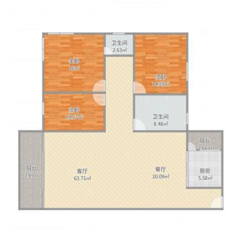 丽日玫瑰3室1厅2卫1厨175.00㎡户型图