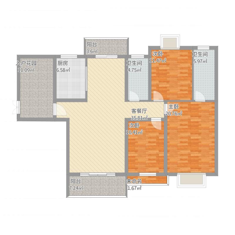 幸福花园二号楼B3三室两厅两卫一花园