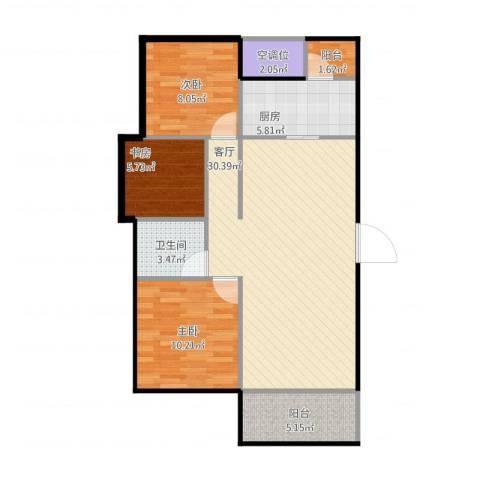 龙湖湘风原著3室1厅1卫2厨99.00㎡户型图