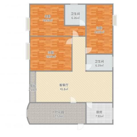 中海万锦豪园梧桐街3室1厅2卫1厨188.00㎡户型图