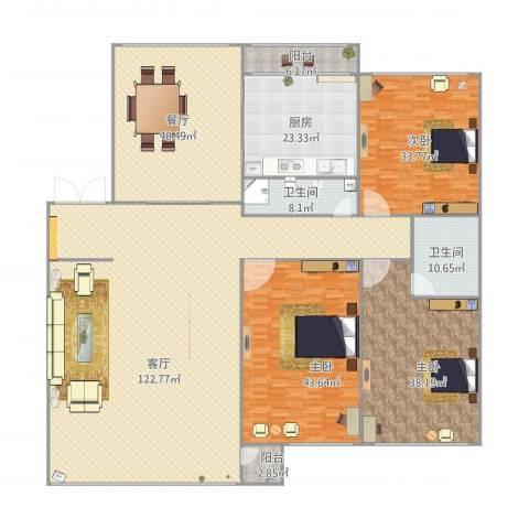 月恒花园3室2厅2卫1厨430.00㎡户型图